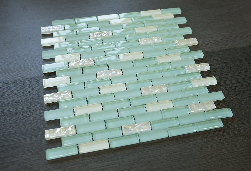 1/2 x 2 Brick Pattern Glass Tile; Color: Sky Blue & White Glass Tile
