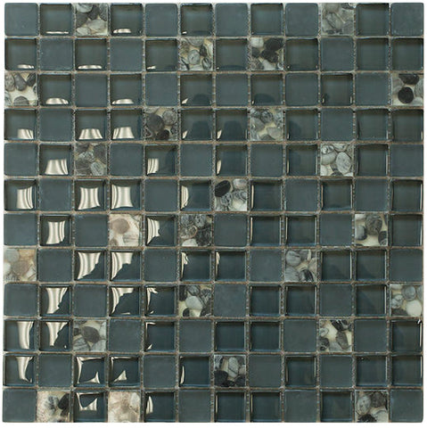 Matte Night Blue & Glossy Grey Sea Shells Glass Mosaic Tiles (Square Pattern)