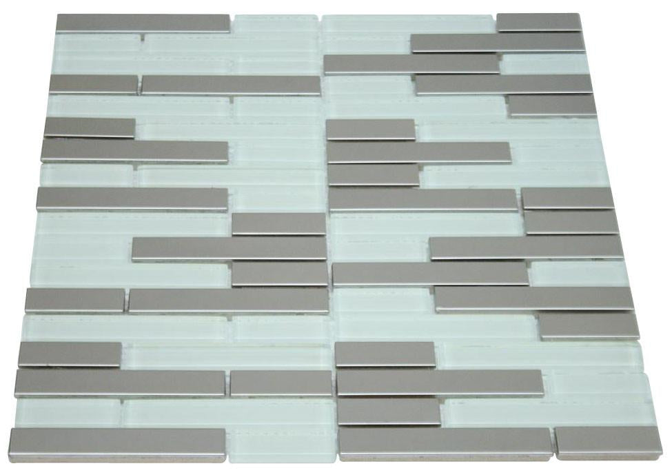Glossy White & Stainless Steel Authentic Glass Mosaic Random Pattern Tiles