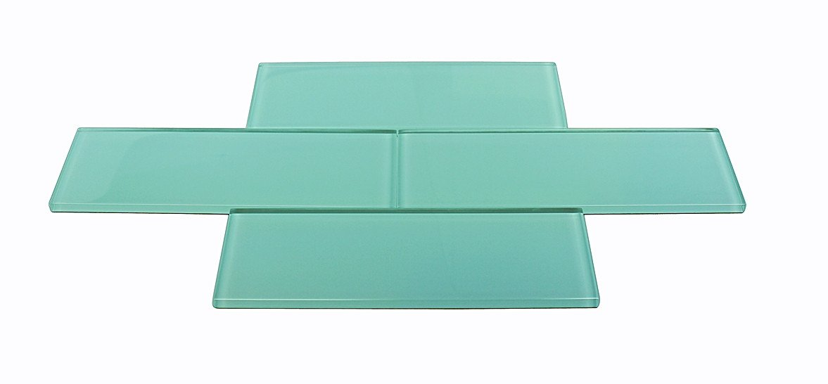 3x9 TURQUOISE BLUE GREEN GLASS SUBWAY TILES