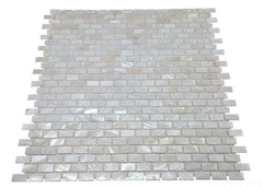 "Vogue Tile Genuine Premium Quality White Mother of Pearl Natural Sea Shell Micro Mini Brick Mosaic Tile 3/8"" x 3/4"" ( on 12"" x 12"" Mesh)"