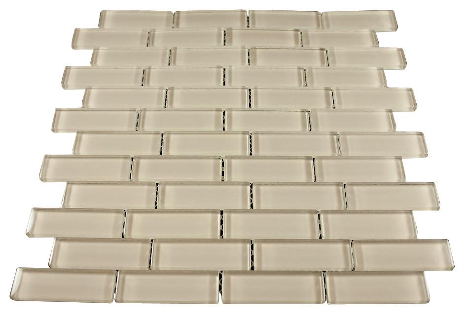 Glossy Latte Subway Glass Mosaic Tile