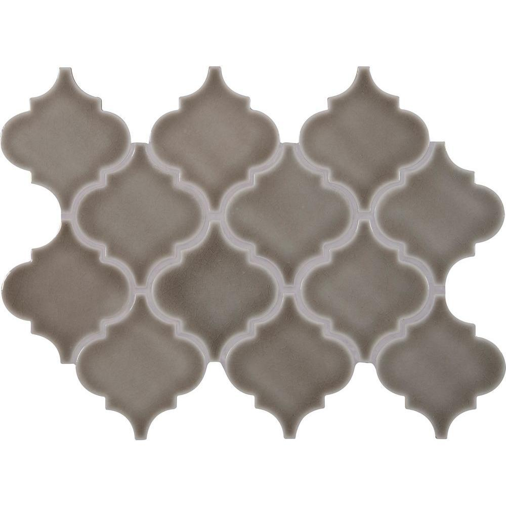 MS International Dove Gray Arabesque 10-1/2 in. x 15-1/2 in. x 8 mm Glazed Ceramic Mesh-Mounted Mosaic Wall Tile