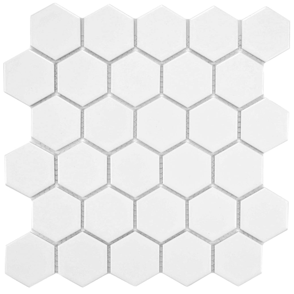 USCT White 2 inch Hexagon Mosaic- 10pcs/carton (10 sq ft) - FREE SHIPPING