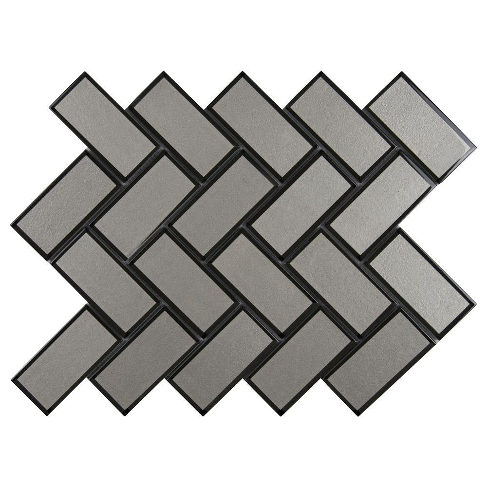 MS International Champagne Bevel Herringbone 13.86 in. x 11.08 in. x 8 mm Glass Mesh-Mounted Mosaic Tile (10.6 sq. ft. / case)