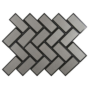 MS International Champagne Bevel Herringbone 13.86 in. x 11.08 in. x 8 mm Glass Mesh-Mounted Mosaic Tile