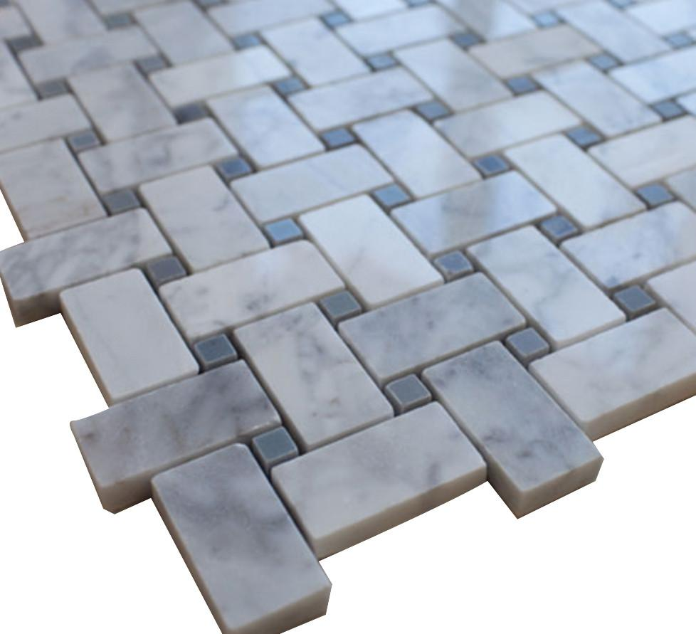 White Carrara Basketweave with Grey Dots Stone Tile Mosaics