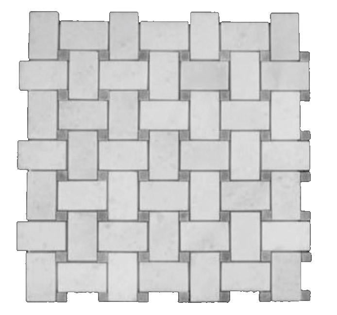 Statuary Crystal Marble Italian White Statuario Basketweave Mosaic Tile with Bardiglio Dots