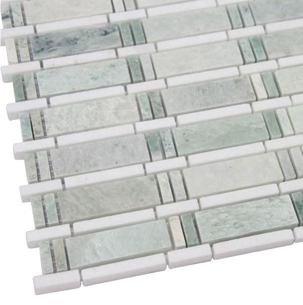 Ming Bamboo Mosaic Marble Tiles for Bathroom and Kitchen Walls Kitchen Backsplashes - Free Shipping