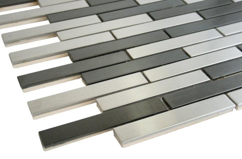 Matte Grey and Black Stainless Steel Subway Style Mosaic Tiles