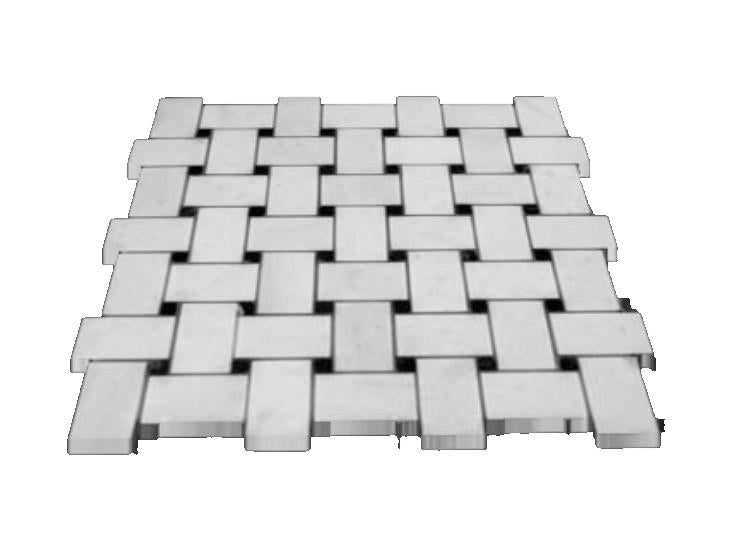 Statuary Crystal Marble Italian White Statuario Basketweave Mosaic Tile with Nero Black Dots