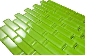 Glossy Grass Green Subway Glass Mosaic Tile