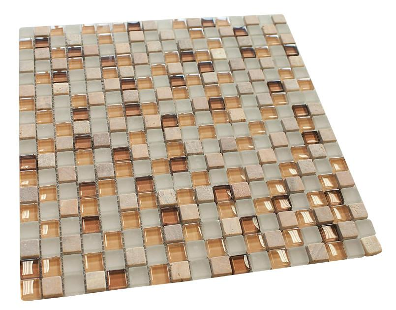 Oatmeal Square Glass Mosaic Tile