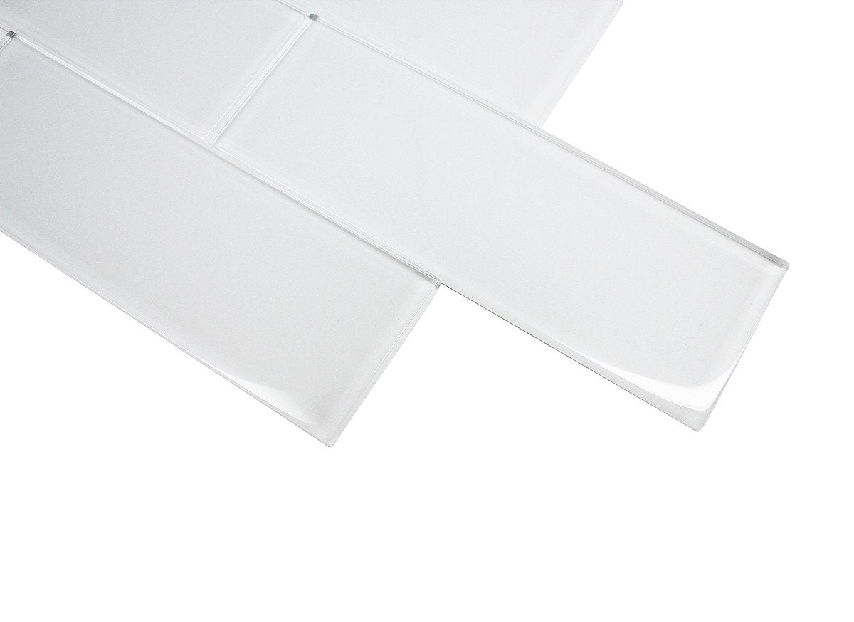 3x9 SUPER WHITE GLASS SUBWAY TILES