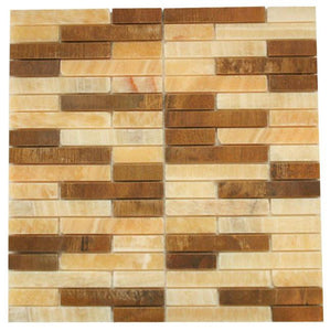 Honey Onyx Marble & Wood Look Marble Authentic Mosaic Tiles for Bathroom and Kitchen Walls Kitchen Backsplashes (Free Shipping)