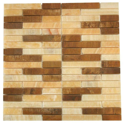 Honey Onyx Marble & Wood Look Marble Authentic Glass Mosaic Tiles