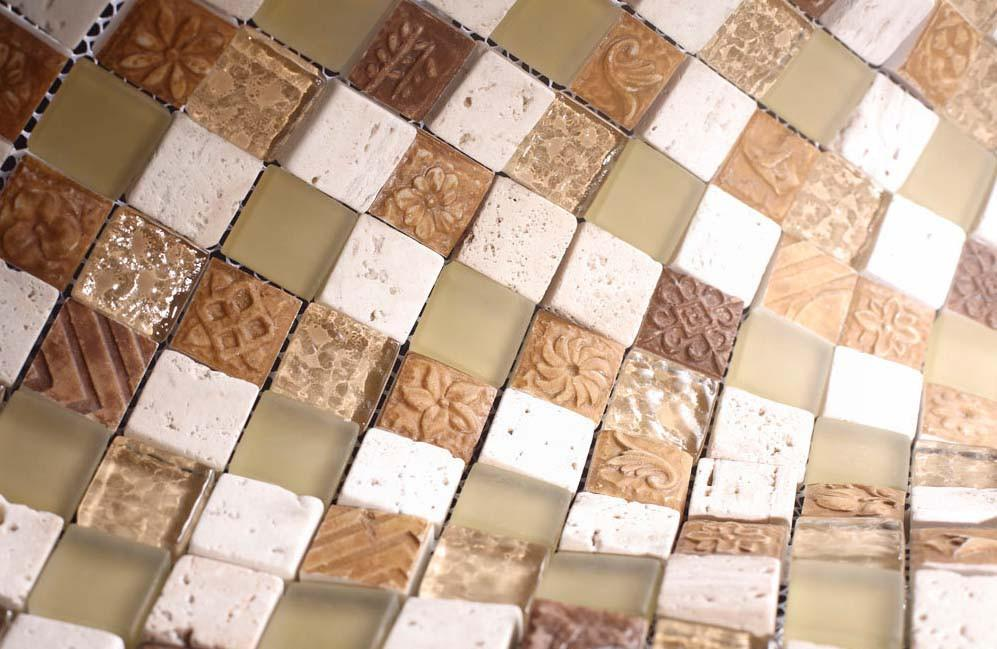 Glossy and Matte Honey Square Stones Porcelain Mosaic Tiles