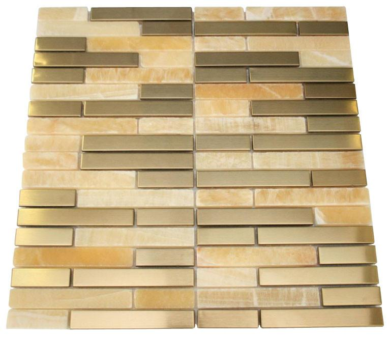 Honey Onyx Marble & Gold Stainless Steel Authentic Glass Mosaic Tiles - Free Shipping