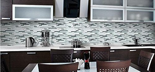 Bliss Iceland Marble and Glass Linear Mosaic Tiles for Kitchen Backsplash or Bathroom Walls (Box of 10 Sheets) - Free Shipping