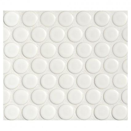 "White Porcelain Penny Round Mosaic Tile ( on 12"" x 12"" Mesh Sheet)"