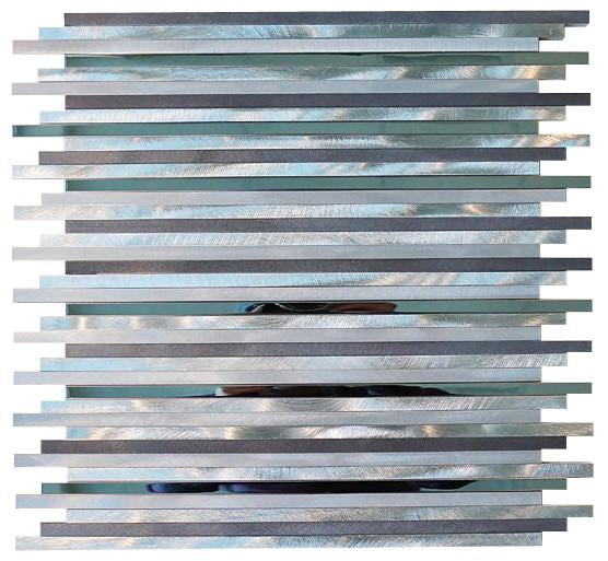 Silver Aliminum Straight Pattern Mosaic Tiles