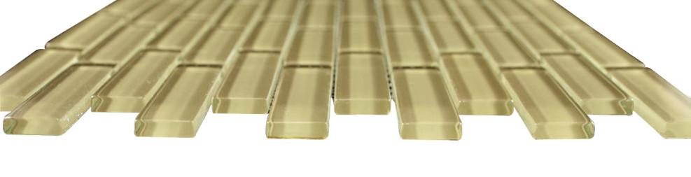 Glossy Gold Subway Glass Mosaic Tile