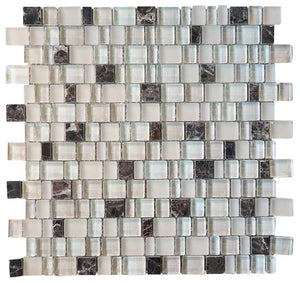 Glossy and Matte Off White With Dark Emperador Random Brick Cubes Pattern Glass Mosaic Tiles