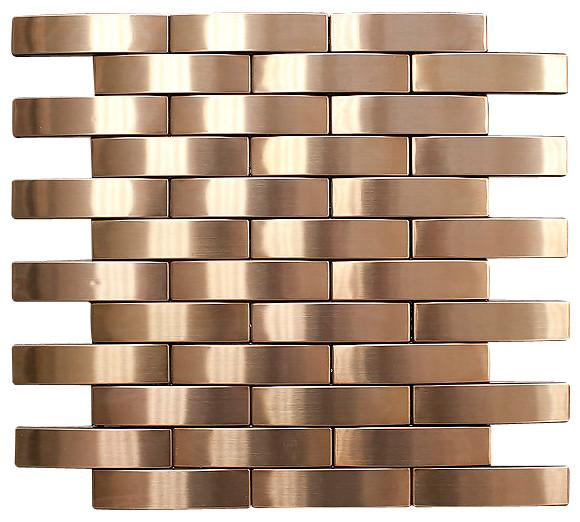 Bronze Stainless Steel Subway Style Mosaic Tiles