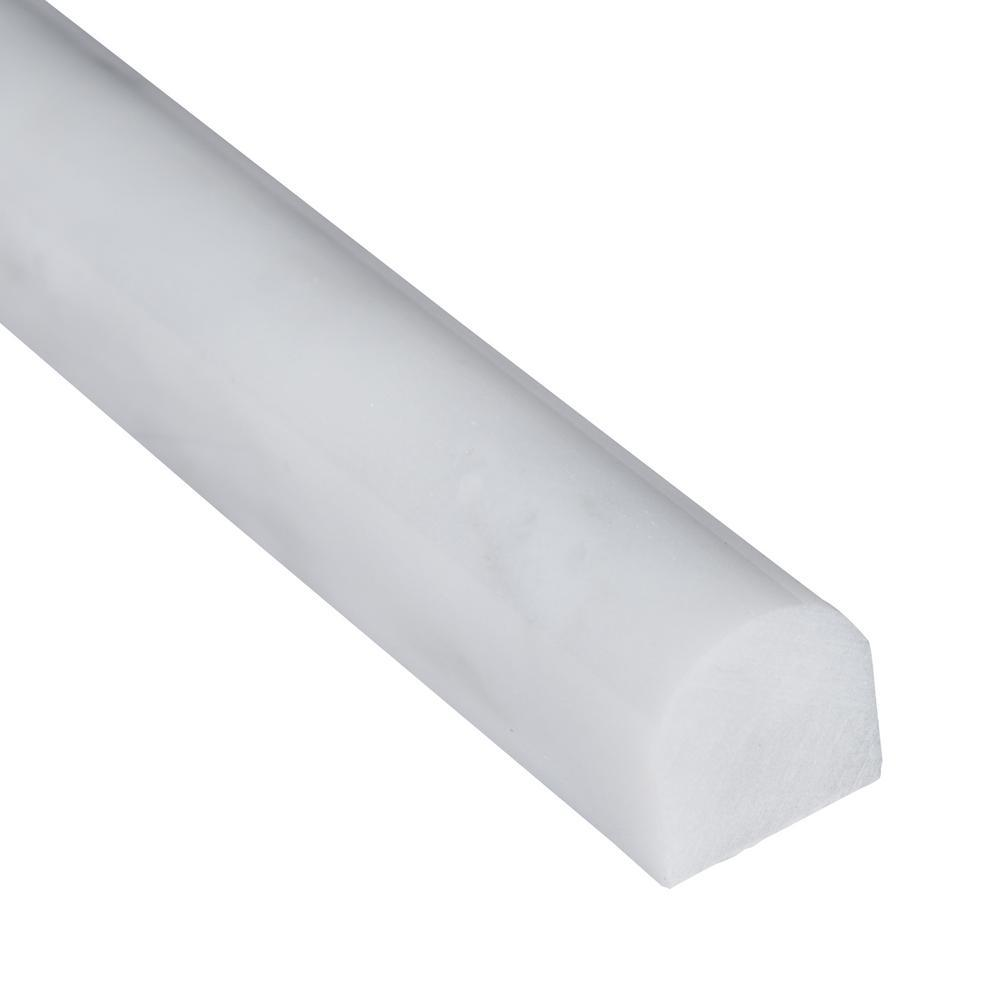 MS International Greecian White 3/4 in. x 12 in. Polished Marble Pencil Molding Wall Tile