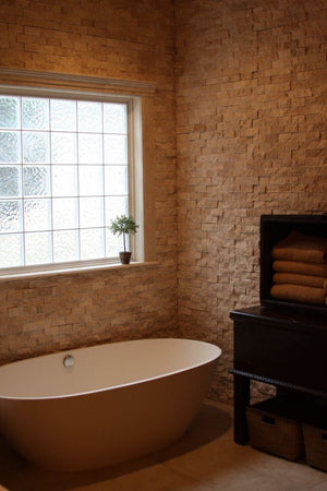 "Light Travertine 2 X 4 Split-Faced Brick Mosaic Tile( on 12"" x 12"" Mesh)"