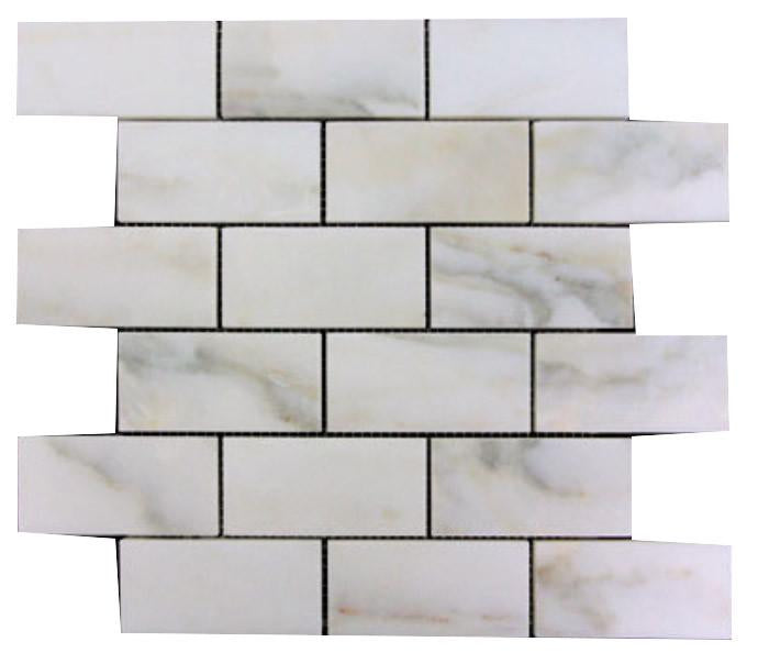 Calacatta Gold Italian Marble 2x4 Subway Mosaic Tile Honed for Bathroom and Kitchen Walls Kitchen Backsplashes (Free Shipping)