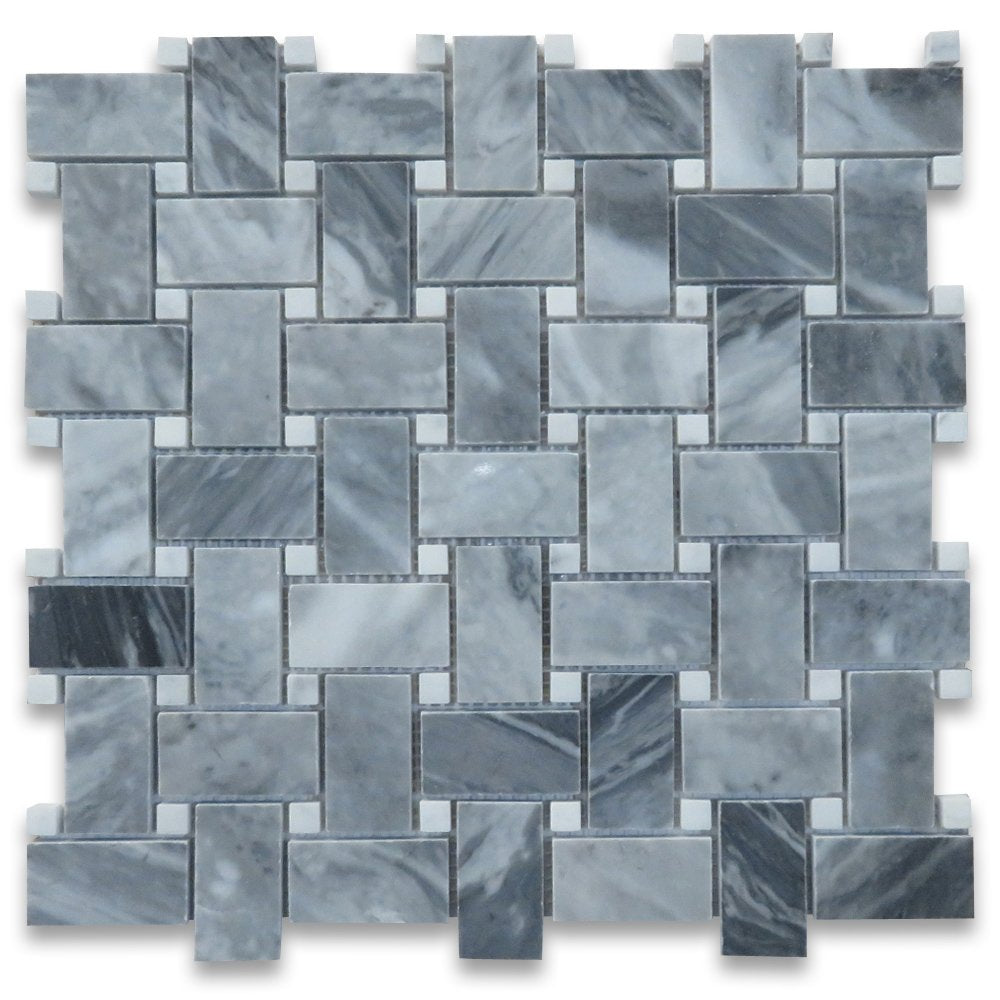 Bardiglio Gray Italian Dark Gray Marble Basketweave Mosaic Tile Carrara White Dots 1 x 2 Polished