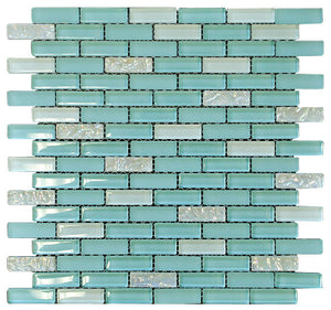 Baby Blue and White Crystal Glass Mosaic Tile Brick Pattern (Glossy&Matte) for Bathroom and Kitchen Walls and Backsplashes By Vogue Tile (Free Shipping)