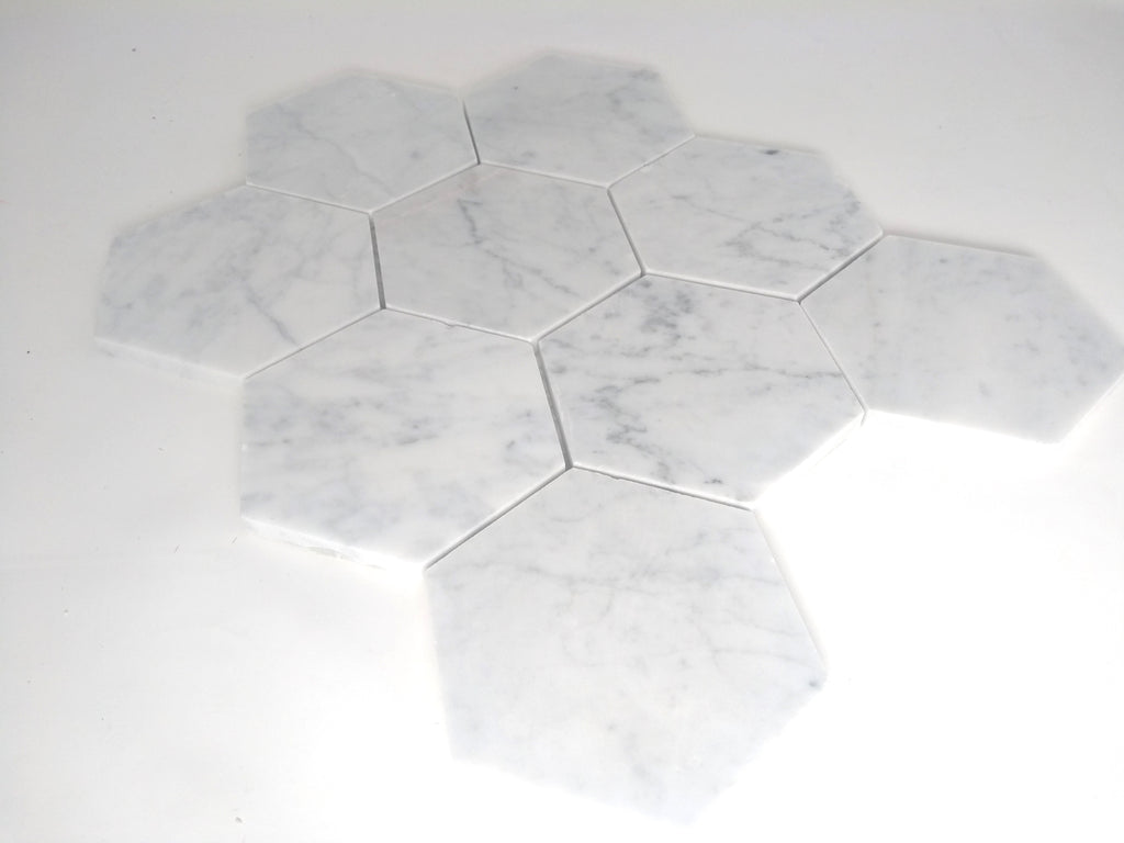 Carrara White Italian Marble Hexagon Mosaic Tile 4 inch Honed Bathroom Kitchen Backsplash Floor Tile - Free Shipping