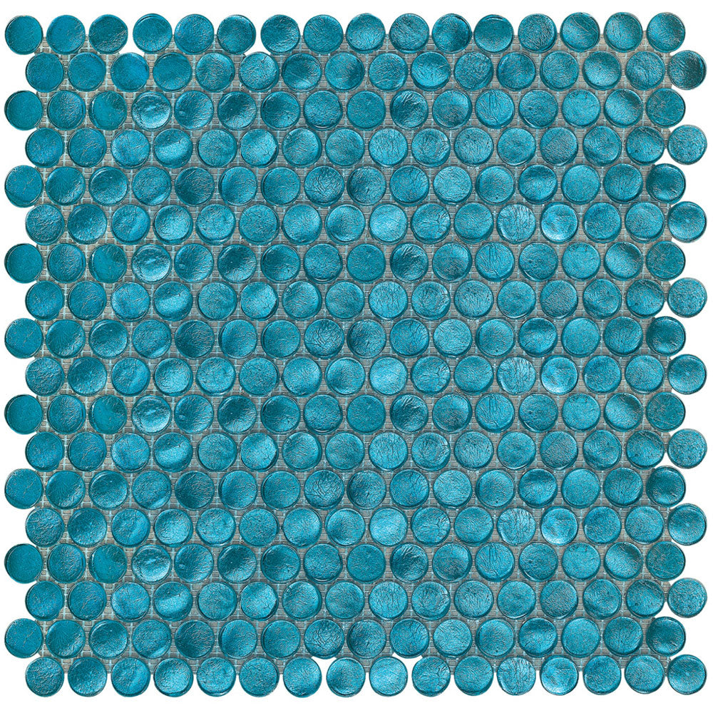 Aqua Blue Penny Round Glass Mosaic Tile (Box of 10 Sqft) for Bathroom and Kitchen Walls Kitchen Backsplashes - Free Shipping