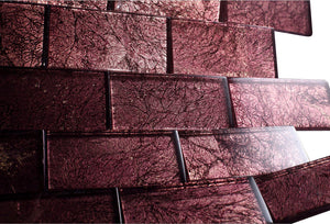 2x4 Glossy Glitter Red Velvet Sky Subway Glass Mosaic Tiles for Bathroom and Kitchen Walls Kitchen Backsplashes