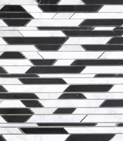 Black and White ZigZag Stone Tile Mosaics