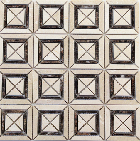 Beige and Dark Emperador Matte X Styles Stone Square Marble Mosaic Tiles