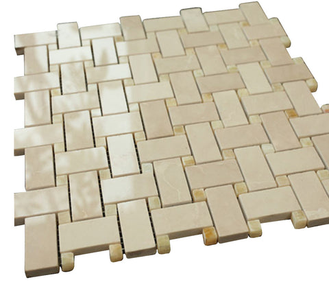 Bright Beige Basketweave with Yellow Dots Stone Tile Mosaics