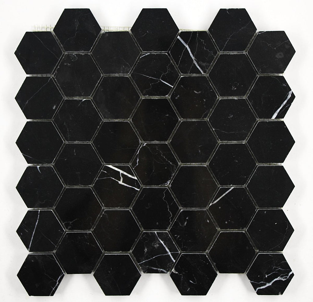 Nero Marquina Black Marble Hexagon Mosaic Tile 2 inch Polished - Free Shipping