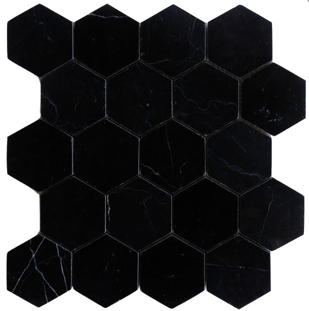 Nero Marquina Black Marble Hexagon Mosaic Tile 3 inch Polished