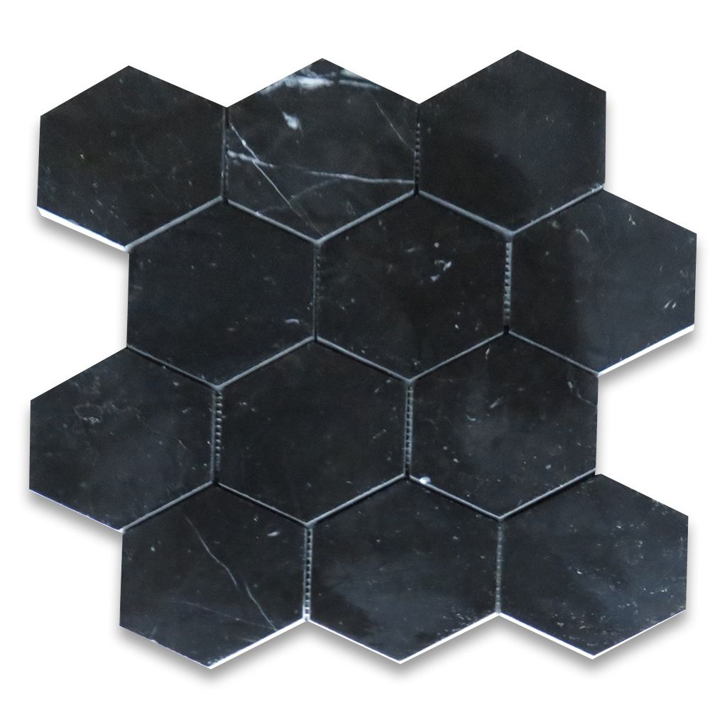 Nero Marquina Black Marble Hexagon Mosaic Tile 4 inch Polished
