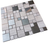 Beige Marble and Grey Stainless Steel Metallic Square Glass Mosaic Tiles