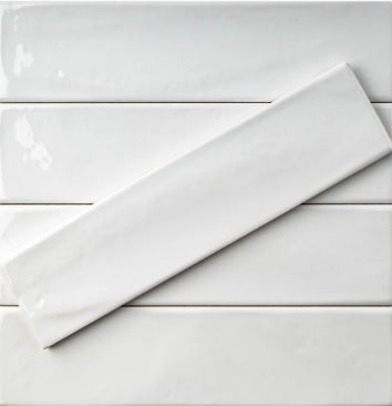 "Hand made Pure White Glossy 3"" x 12"" Subway Ceramic Tile - for Bathroom Walls, Kitchen Backsplashes - Free Shipping"