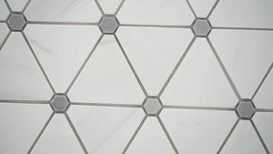MSI Bianco Dolomite Pinwheel 13.9 in. x 12 in. x 10mm Polished Marble Mesh-Mounted Mosaic Tile