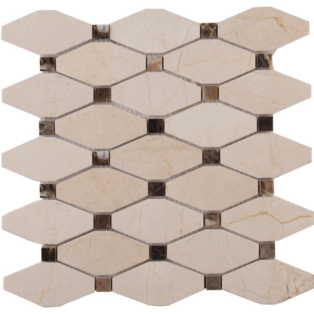 MS International Valencia Blend Elongated Octagon 12 in. x 12 in. x 10 mm Polished Marble Mesh-Mounted Mosaic Tile (10 sq. ft. / case)