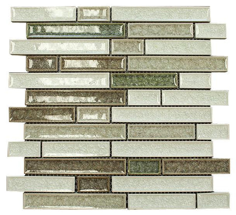 Green, White and Brown Glossy Crackle Crystal Mosaic Tiles