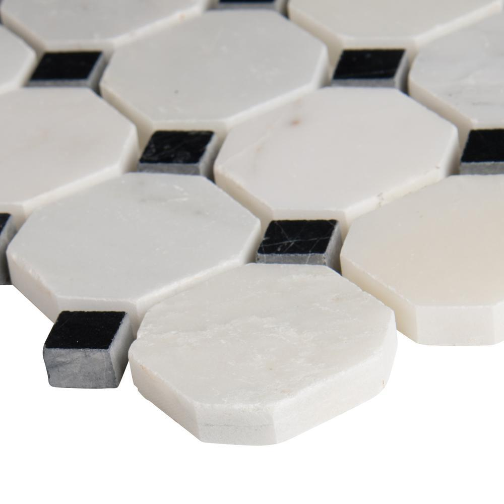 MS International Greecian White Octagon 12 in. x 12 in. x 10 mm Polished Marble Mesh-Mounted Mosaic Tile - Free Shipping