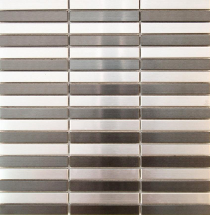 Silver and Black Stainless Steel Straight Pattern Mosaic Tiles