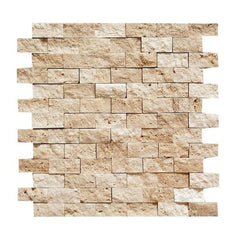 "Light 1 X 2 Split Face Travertine Mosaic Tile (on 12"" x 12"" Mesh Sheet)"